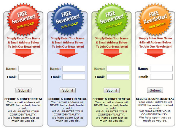 Free subscription form template: email opt-in template (tried.